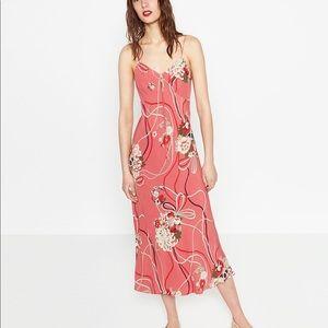 pink floral camisole spaghetti strap slip dress